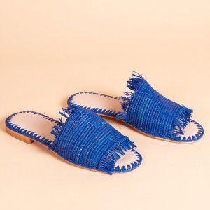 Raffia Sandal with Fringe (Blue)
